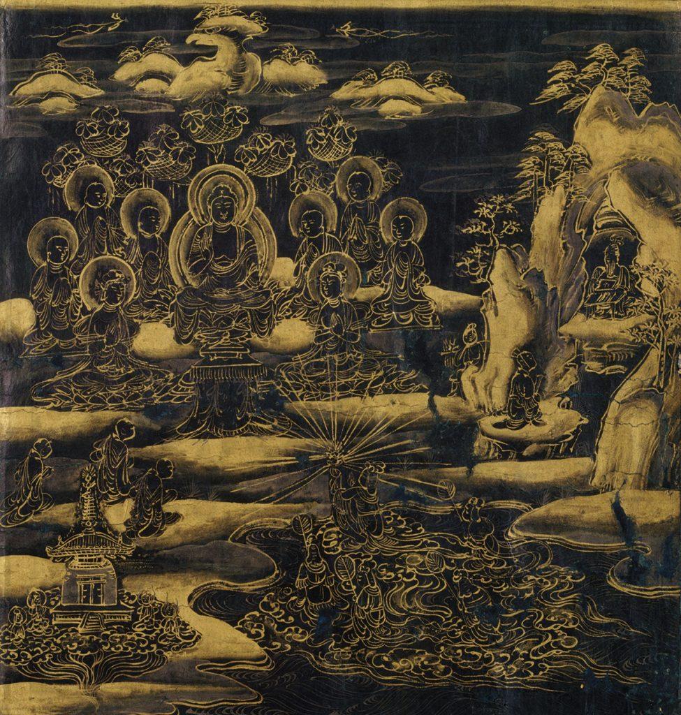 A filha do Rei Dragão entrega a joia para o Buda Shakyamuni